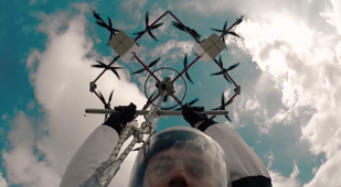 Skydiver completes world's first drone jump