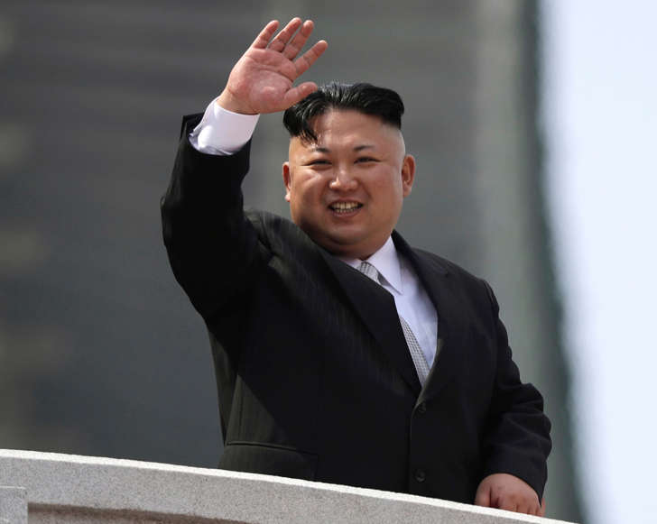 FILE - In this Saturday, April 15, 2017, file photo, North Korean leader Kim Jong Un waves during a military parade to celebrate the 105th birth anniversary of Kim Il Sung in Pyongyang, North Korea.