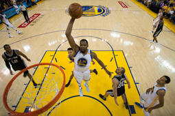 Kevin Durant #35 of the Golden State Warriors goes up for a shot against the San Antonio Spurs during Game One of the NBA Western Conference Finals at ORACLE Arena on May 14, 2017 in Oakland, California.
