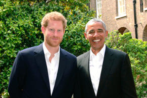 In this handout photo issued by Kensington Palace, Prince Harry (left) poses wit...