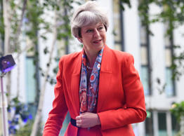 Theresa May arrives at Sky studios in Osterley, west London to take part in a joint Channel 4 and Sky News general election programme