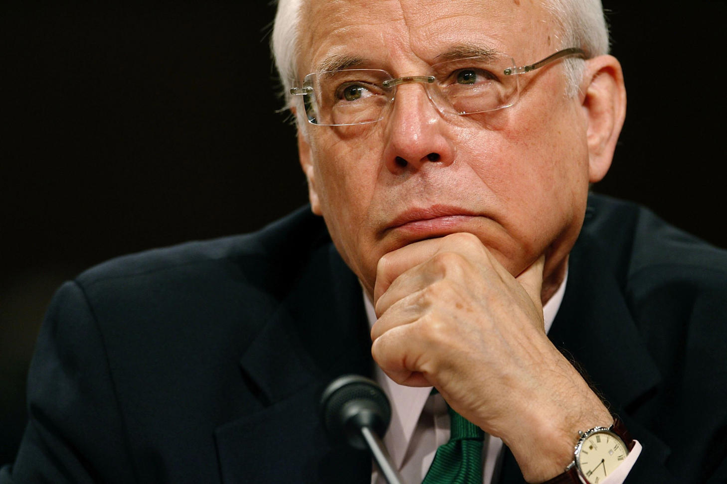 White House Counsel to President Richard Nixon, John Dean testifies before the Senate Judiciary Committee at the invitation of Sen. Russell Feingold (D-WI) on Capitol Hill March 31, 2006 in Washington, DC.