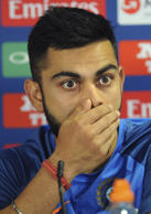 India captain Virat Kohli attends a press conference ahead of their ICC Champions Trophy Group B match against Pakistan at Edgbaston in Birmingham, England, Saturday, June 3, 2017.