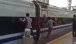 Commuter with finger stuck in door runs alongside train