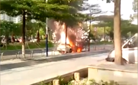 Car bursts into flames and explodes