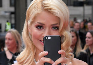 Holly Willoughby takes a selfie at the 2017 BAFTA Awards