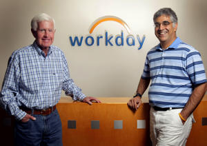 Dave Duffield, left, and Aneel Bhusri, co-founders of Workday in Pleasanton, California