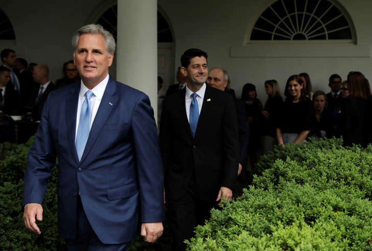 House Majority Leader Kevin McCarthy of Calif., followed by House Speaker Paul Ryan of Wis. and House Majority Whip Steve Scalise of La. arrive in the Rose Garden of the White House in Washington, Thursday, May 4, 2017, after the House pushed through a health care bill.