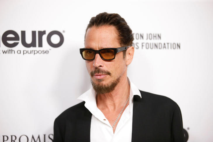 Musician Chris Cornell poses at Elton John's 70th Birthday at RED Studios Hollywood in Los Angeles.