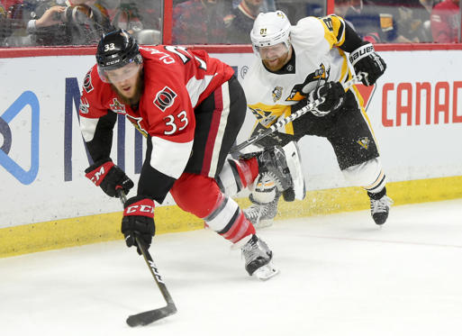Slide 2 of 75: Ottawa Senators defenceman Frederik Claesson (33) battles for the puck with Pittsburgh Penguins forward Phil Kessel (81) in the third period in game three of the Eastern Conference Final of the 2017 Stanley Cup Playoffs at Canadian Tire Centre May 17, 2017; Ottawa, Ontario