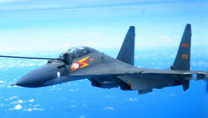 A file image of a Chinese Su-30 fighter jet. The same type of jets were said to have intercepted a US WC-135 Wednesday, according to the US.