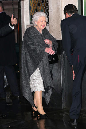 The Queen was in high spirits as she arrived at The Ivy in London's Covent Garden