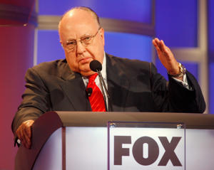 Roger Ailes, chairman and CEO of Fox News and Fox Television Stations, answers questions during a panel discussion at the Television Critics Association summer press tour in Pasadena, California, on July 24, 2006.