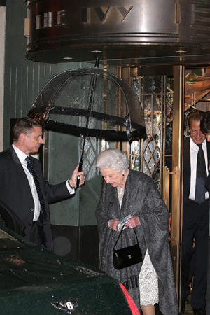 The monarch pictured leaving the birthday celebrations at the end of the evening