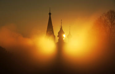 A view of the Annunciation monastery in the village of Dunilovo at dawn on May 15.