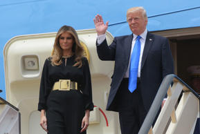 US President Donald Trump and First Lady Melania Trump step off Air Force One upon arrival at King Khalid International Airport in Riyadh on May 20, 2017.