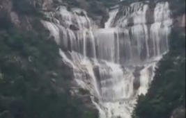 Dried-up waterfall comes 'back to life' after 60 years