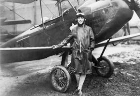 iss Amy Johnson, the young Yorkshire air woman, beside her plane at Croyden Airport, England. Filed May 13th, 1930. (Bettmann Archive/Getty Images)