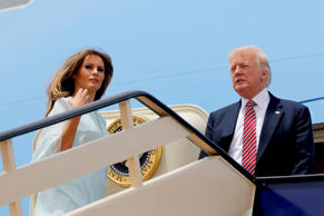 U.S. President Donald Trump and first lady Melania Trump board Air Force One to depart for Israel from King Khalid International Airport in Riyadh, Saudi Arabia May 22, 2017.