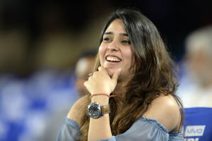 Mumbai Indians captain Rohit Sharma's wife Ritika Sajdeh looks on  during the 2017 Indian Premier League final between Mumbai Indians and Rising Pune Supergiant at the Rajiv Gandhi International Cricket Stadium in Hyderabad on May 21, 2017.