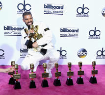 Drake poses with awards at the 2017 Billboard Music Awards at T-Mobile Arena on May 21, 2017 in Las Vegas, Nevada.