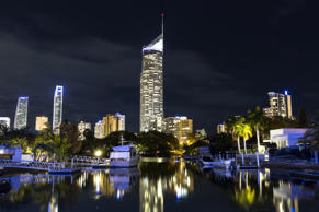 GOLD COAST, AUSTRALIA - SEPTEMBER 5 2014: Gold Coast City and Q1 building, Surfers Paradise night nightscape view from Isle of Capri boat harbour