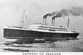 This ship, Empress of Ireland was unfortunately lost on May 29th, 1914 in the St. Lawrence River, a few hours after leaving Quebec for Liverpool by being in a collision with another ship during a thick fog. The great ship sank in 15 minutes and 1,023 lives were lost.