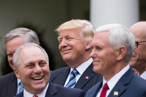 President Trump held a press conference with members of the GOP on May 4, 2017 on the passage of legislation to roll back the Affordable Care Act in the Rose Garden of the White House in Washington, D.C.