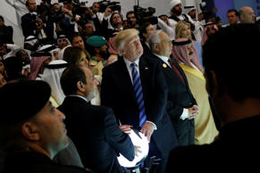 U.S. President Donald Trump and other leaders including Egypt's President Abdel ...