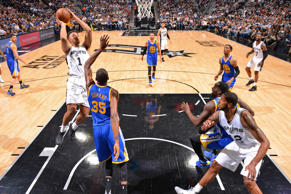 Kyle Anderson #1 of the San Antonio Spurs shoots the ball against the Golden State Warriors during Game Four of the Western Conference Finals of the 2017 NBA Playoffs on May 22, 2017 at the AT&T Center in San Antonio.