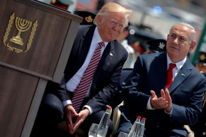 Israel's Prime Minister Benjamin Netanyahu (R) participates in a welcoming ceremony for U.S. President Donald Trump at Ben Gurion International Airport in Tel Aviv, Israel May 22, 2017.