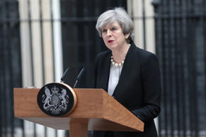 Britain's Prime Minister Theresa May speaks to the media after chairing a meetin...