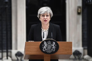Britain's Prime Minister Theresa May speaks to the media after chairing a meeting of the Government's emergency COBRA committee at Downing Street on May 23, 2017 in London, England. An explosion occurred at Manchester Arena last night as concert goers were leaving the venue after Ariana Grande performed on stage. Greater Manchester Police are treating the explosion as a terrorist attack and have confirmed 22 fatalities and 59 injured. Campaigning ahead of the General Election has been suspended.