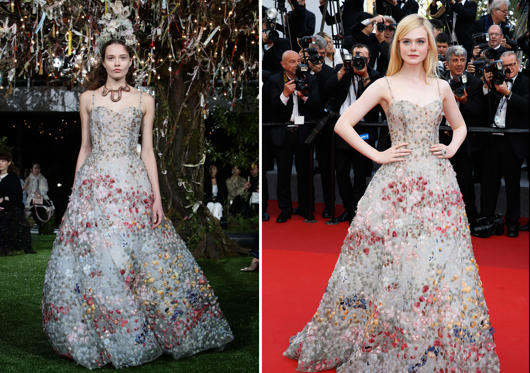 Slide 1 of 47: (L) Christian Dior at the 2017 Spring/Summer Haute Couture Collection Show on April 19, 2017, in Tokyo. (R) Elle Fanning at the Cannes Film Festival on May 23, 2017.