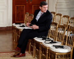 In this photo taken Feb. 10, 2017, then-National Security Adviser Michael Flynn ...