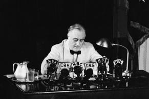 American President Franklin Delano Roosevelt (1882 - 1945) declares an 'unlimited' national state of emergency over the radio in response to German aggression during World War II, Washington, D.C., May 27, 1941.