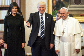 Pope Francis meets United States President Donald Trump and First Lady Melania Trump at the Apostolic Palace on May 24, 2017 in Vatican City, Vatican.