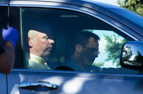 "Republican candidate for Montana's only U.S. House seat, Greg Gianforte, sits in a vehicle near a Discovery Drive building Wednesday, May 24, 2017, in Bozeman, Mont. A reporter said Gianforte ""body-slammed"" him Wednesday, the day before the special election."