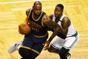 LeBron James (23) of the Cleveland Cavaliers dribbles against Terry Rozier (12) of the Boston Celtics in the first half during Game Five of the 2017 NBA Eastern Conference Finals at TD Garden on May 25, in Boston, Mass.