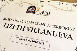"The Channelview Independent School District is disciplining teachers who named Lizeth Villanueva as the student ""most likely to become a terrorist."""