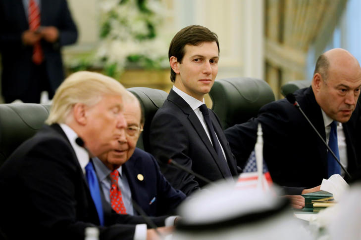 FILE PHOTO - White House senior advisor Jared Kushner (C) sits alongside U.S. President Donald Trump (L) and Commerce Secretary Wilbur Ross (2nd L) as they prepare to meet with Saudi Arabia's King Salman bin Abdulaziz Al Saud and the Saudi delegation at the Royal Court in Riyadh, Saudi Arabia May 20, 2017.