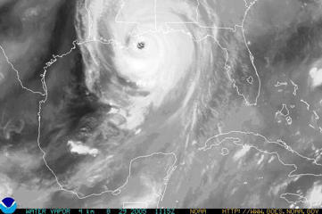 In this satellite image from NOAA, Hurricane Katrina is seen August 29, 2005 over southeastern Louisiana. Katrina made landfall close to Empire, Louisiana with sustained winds at 140 MPH. (Photo by NOAA via Getty Images)