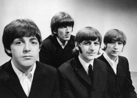Portrait of British pop group The Beatles (L-R) Paul McCartney, George Harrison ...