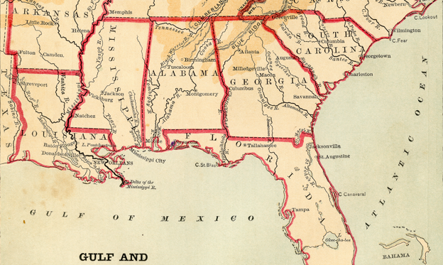 Slide 1 of 12: USA South Atlantic States - Florida, North Carolina, South Carolina, Georgia, Alabama, Tennessee, Louisiana (1877)