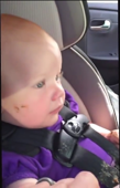 Baby makes huge mess in back seat, wait until you see what it is!