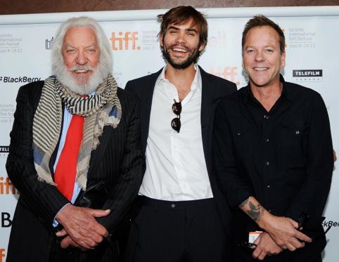 Slide 1 of 28: TORONTO, ON - SEPTEMBER 11: Actors Donald Sutherland, Rossif Sutherland and Kiefer Sutherland attend the premiere of 'I'm Yours' at the Isabel Bader Theatre during the 2011 Toronto International Film Festival on September 11, 2011 in Toronto, Canada. (Photo by Aaron Harris/Getty Images)