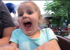Girl, 3, experiences roller coaster for the first time