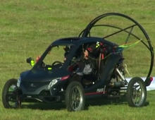 Flying car crosses English Channel