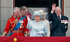 LONDON, UNITED KINGDOM - JUNE 17: (EMBARGOED FOR PUBLICATION IN UK NEWSPAPERS UNTIL 48 HOURS AFTER CREATE DATE AND TIME) Prince Charles, Prince of Wales, Queen Elizabeth II and Prince Philip, Duke of Edinburgh watch the flypast from the balcony of Buckin