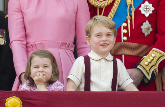 Slide 1 of 43: Trooping the Colour ceremony, London, UK - 17 Jun 2017 Princess Charlotte and Prince George